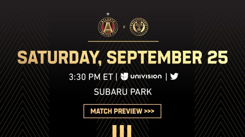 Match Preview: Atlanta United vs. Philadelphia Union Saturday, September 25, 2021