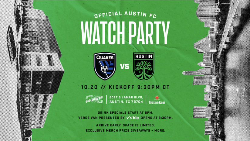 Bouldin Acres to Host Official Austin FC vs. San Jose Earthquakes Watch Party Presented by Heineken