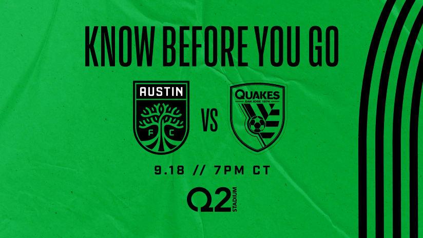 Know Before You Go: Austin FC vs. San Jose Earthquakes | Sept. 18, 2021