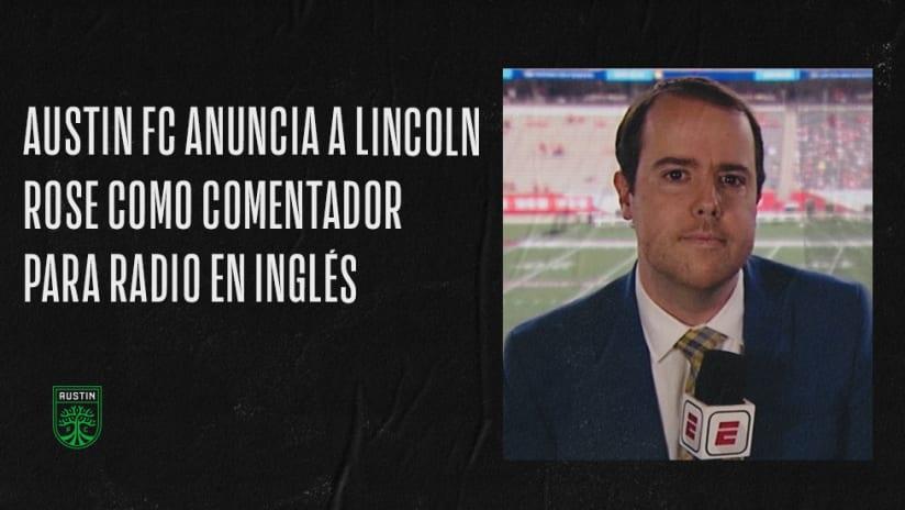 Austin FC Anuncia a Lincoln Rose Como Comentador Para Radio en Inglés