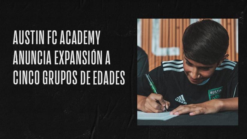 Austin FC Academy Anuncia Expansión a Cinco Grupos de Edades