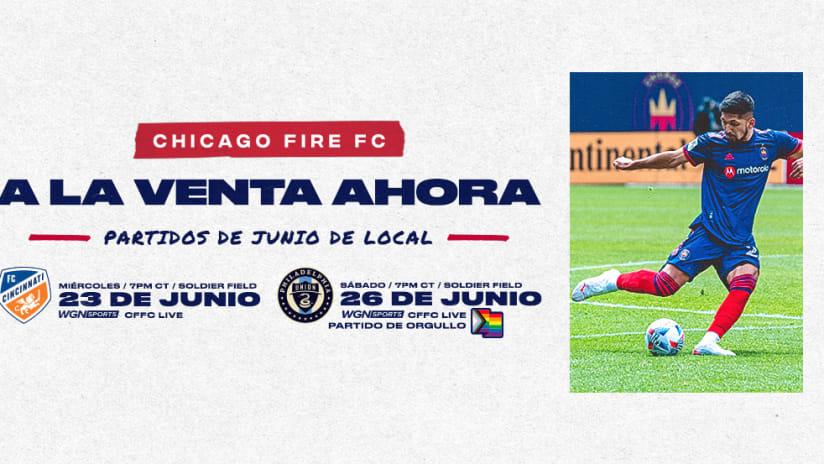 Boletos a la Venta Hoy a las 10:00 a.m. CT para los Próximos Partidos del Chicago Fire FC del 23 y 26 de Junio