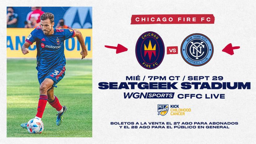 Chicago Fire FC Jugará Partido de Local del 29 de Septiembre contra New York City FC en SeatGeek Stadium