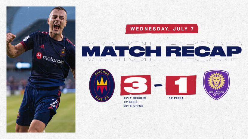 Chicago Fire FC Defeats Orlando City SC 3-1, Extends Unbeaten Streak to Three Games
