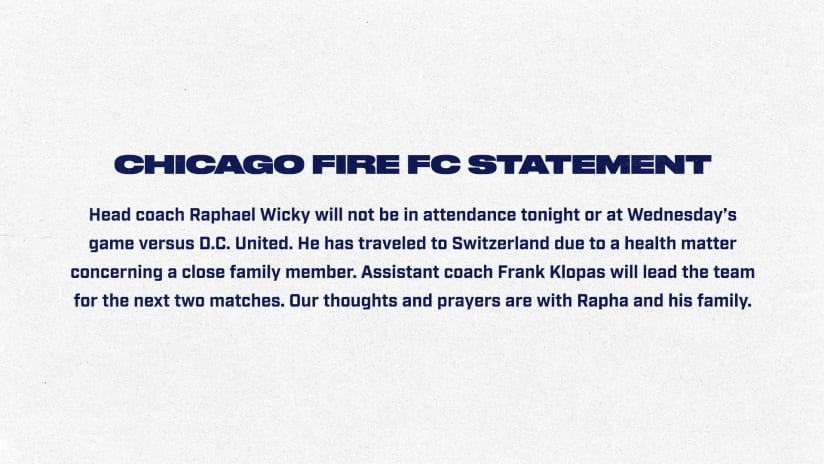 Statement from Chicago Fire FC