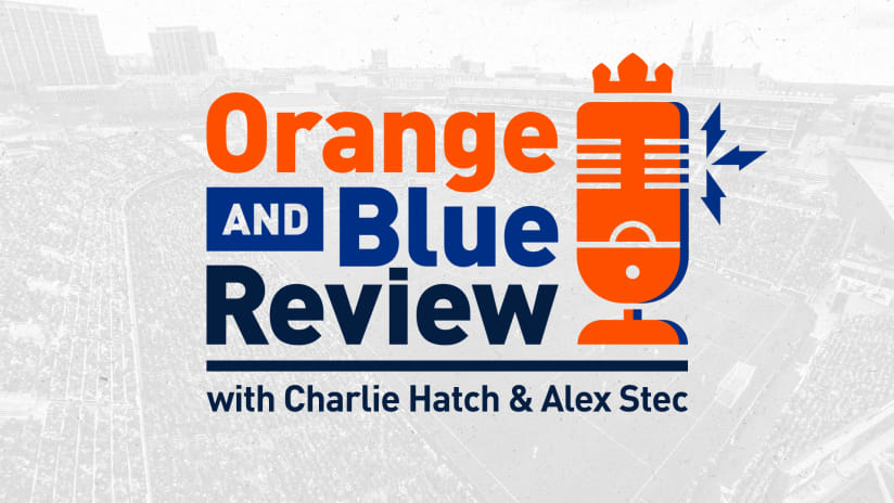 Orange and Blue Review Podcast graphic