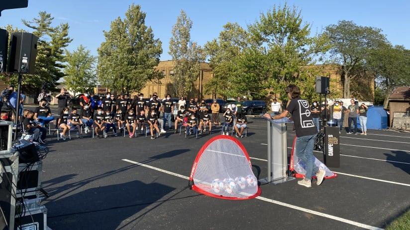 MLS Great Kyle Martino addresses the children