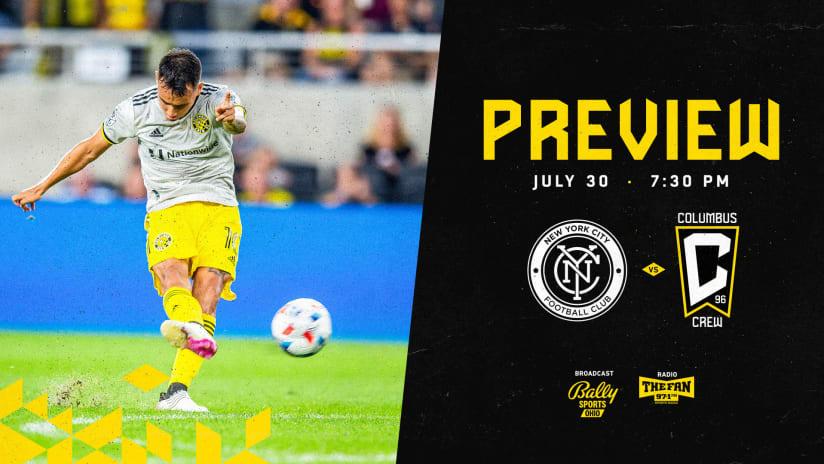 PREVIEW | Crew seeking third straight win this season vs. New York City FC