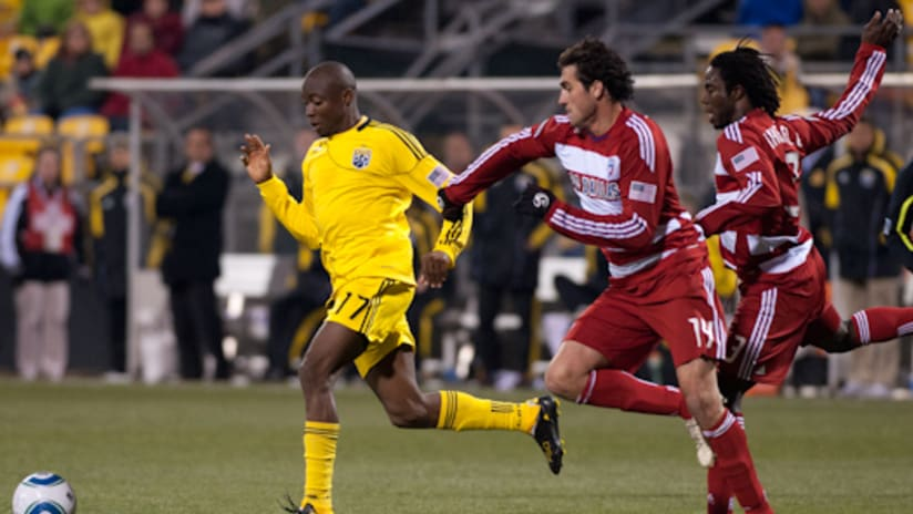 Did the Crew's tough midweek fixture affect their ability to keep up with FC Dallas on Saturday?