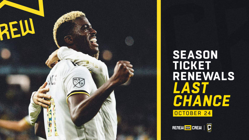 RENEW TODAY | October 24 is the last chance to renew Season Ticket Memberships