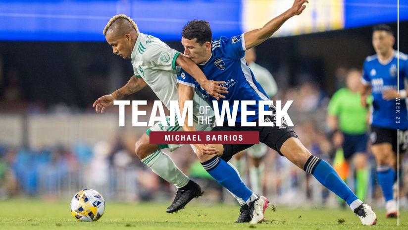 Week 23: Badji, Barrios Earn MLS Team of the Week After San Jose Win