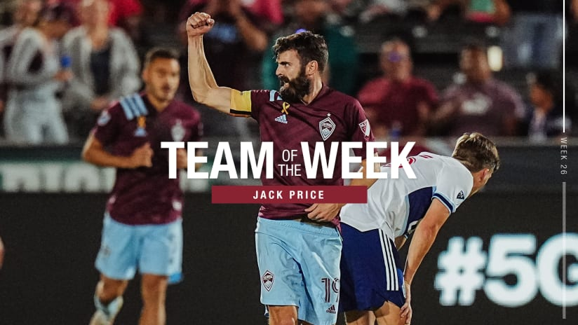 Week 26: Set Piece King Jack Price Named to MLS Team of the Week Bench