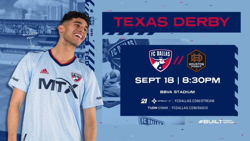 FC Dallas' Match against Houston Dynamo FC on Sept. 18 Moved to 8:30PM CDT