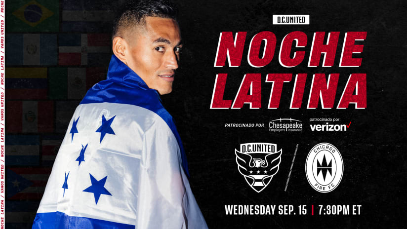D.C. United to Kick-Off Hispanic Heritage Month Celebration with Noche Latina Match on Wednesday, September 15 at 7:30 p.m. EST