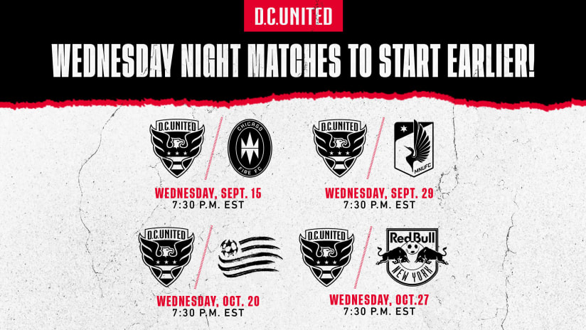 D.C. United Announce Earlier Kickoff Times for Wednesday Night Matches at Audi Field