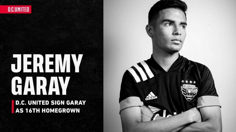 D.C. United Sign Midfielder Jeremy Garay to Homegrown Deal