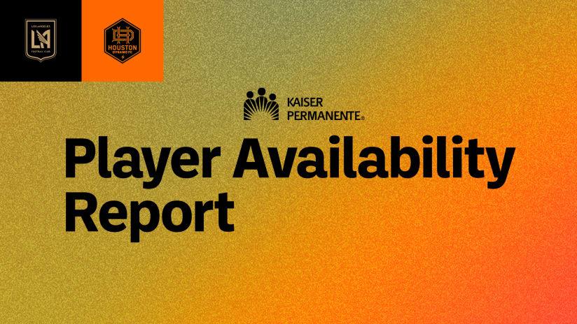 Player Availability Report | LAFC vs Houston Dynamo 6/19/21