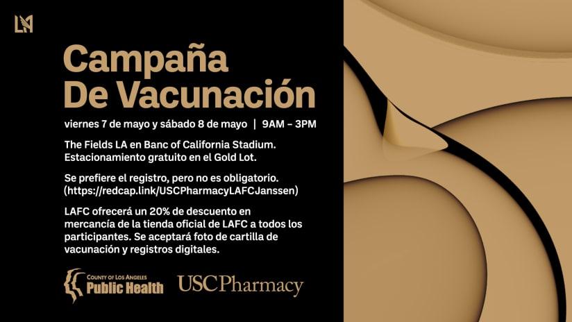 LAFC Y El Departamento De Salud Pública Del Condado De Los Ángeles Organizan Una Campaña De Vacunación Contra Covid-19 En El Estadio Banc Of California Del 7 Al 8 De Mayo