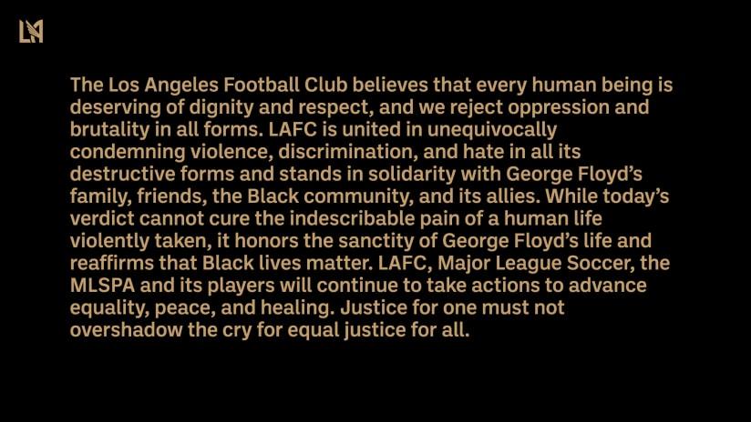 LAFC Statement On Chauvin Verdict