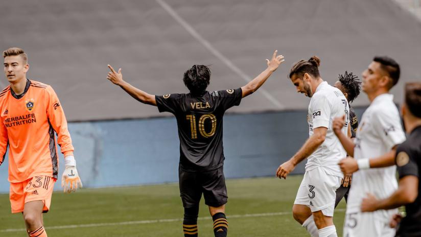 Carlos Vela Celebrates Goal Arms Out LAFC vs GAL 201025 IMG