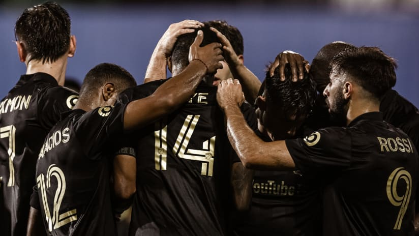LAFC Players Celebrate With Mark-Anthony Kaye Goal MLS Is Back LAFC vs POR 200723 IMG