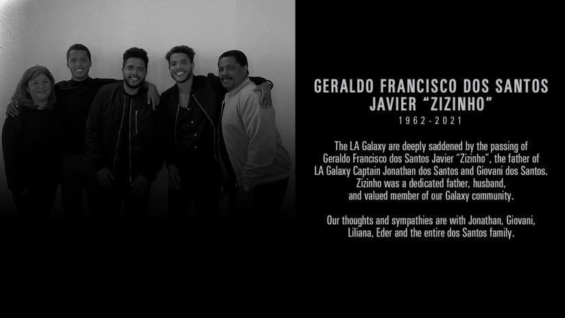 "LA Galaxy statement on the passing of Geraldo Francisco Dos Santos Javier ""Zizinho"""