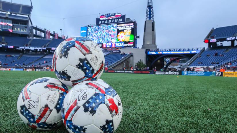 MLS Soccer balls on Gillette Stadium field (generic)