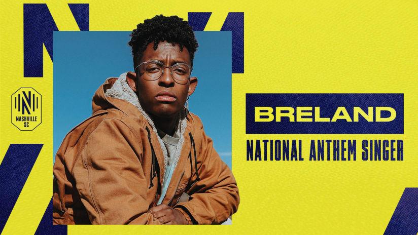 PLATINUM-Certified Artist BRELAND to Sing National Anthem at Nashville SC Match on May 8