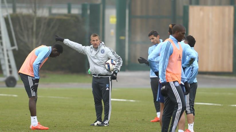 Jason Kreis during training in Manchester