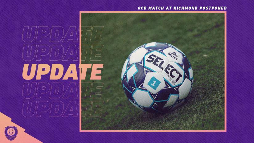 Orlando City B Match at Richmond Postponed