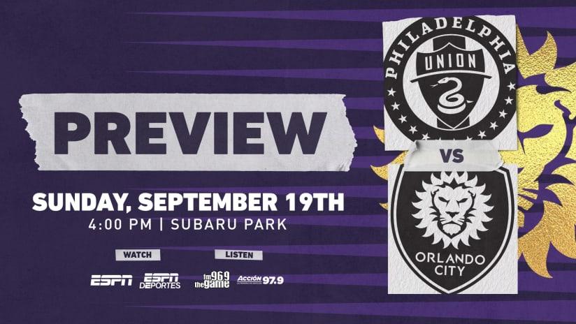 Orlando City Travels to Face Philadelphia Union on Sunday
