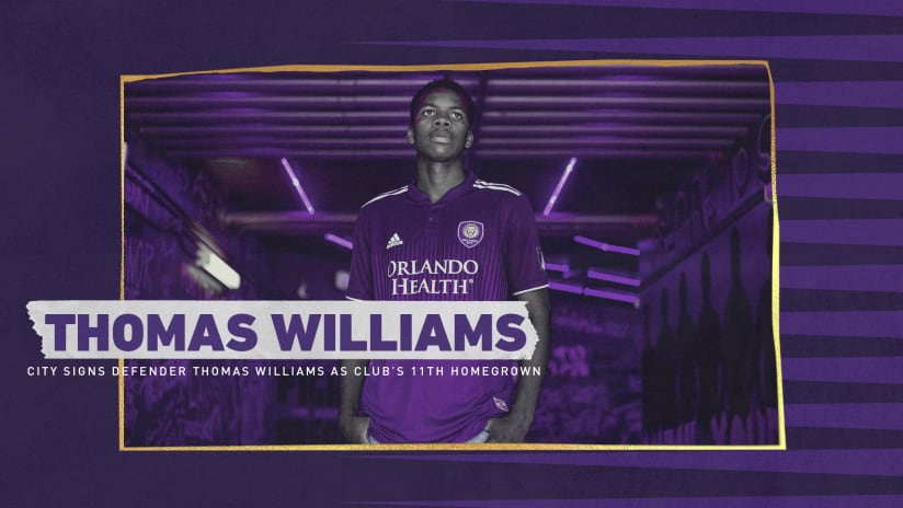 Orlando City SC Signs Defender Thomas Williams as Club's 11th All-Time Homegrown