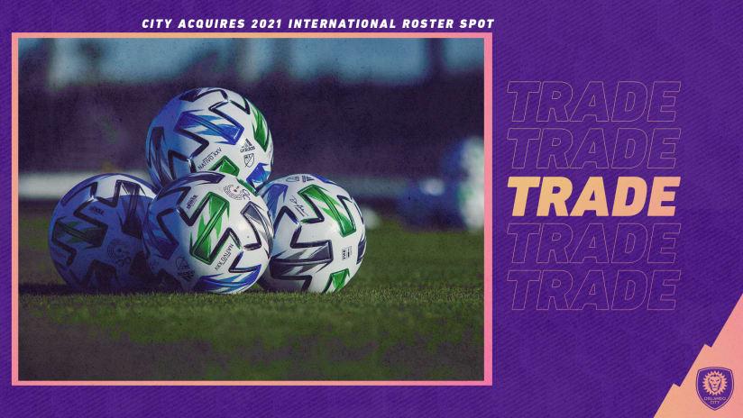 Orlando City SC Acquires 2021 International Roster Spot