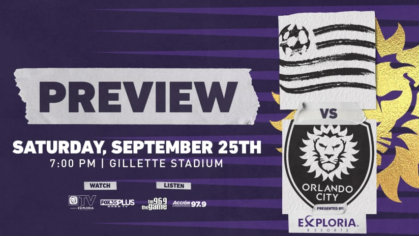 Orlando City Travels to Face New England Revolution on Saturday