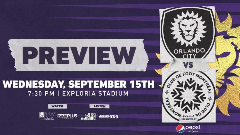 Orlando City Hosts CF Montréal on Wednesday