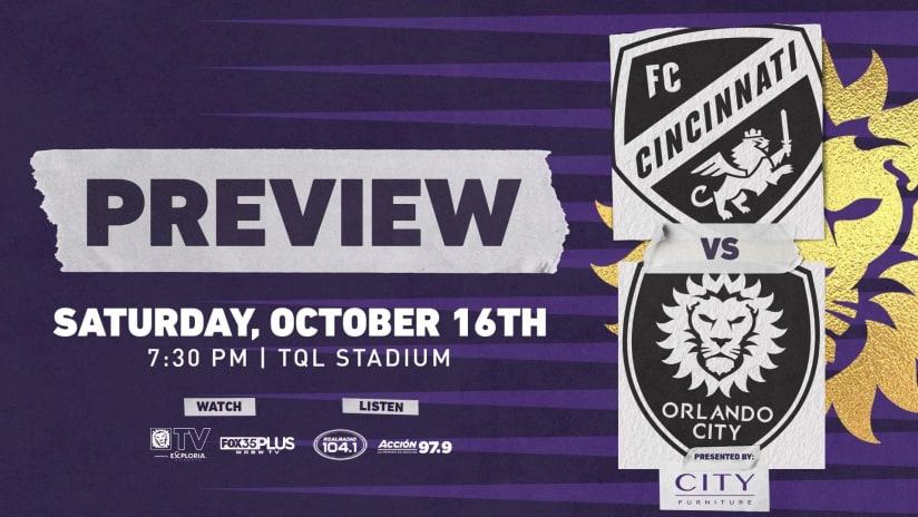 Orlando City Returns to Action at FC Cincinnati