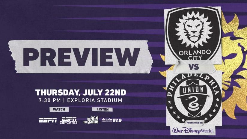 Orlando City Returns Home for Thursday Fixture Against Philadelphia Union