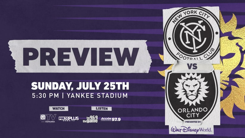 Orlando City Travels to NYCFC on Sunday