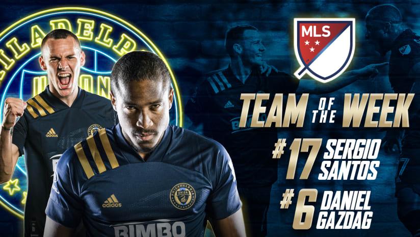 Santos, Gazdag named to MLS Team of the Week