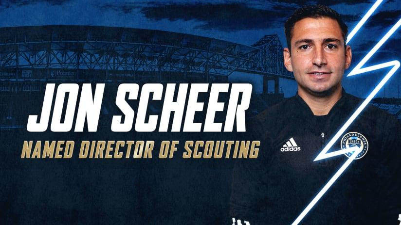 Philadelphia Union Announce Jon Scheer As Director of Scouting