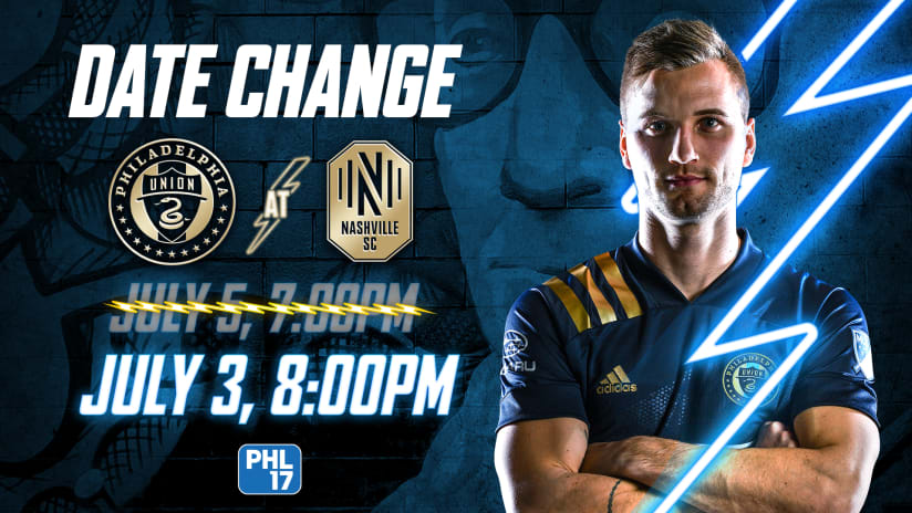 Schedule Update: #NSHvPHI Moved to Saturday, July 3 at 8 p.m. ET