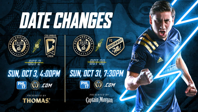 Schedule Update   Union Announce Two Date Changes To October Matches
