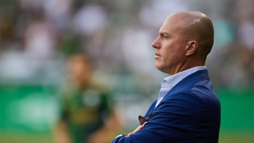 Giovanni Savarese looks on from the sidelines at Providence Park (August 15, 2021; Portland, OR, USA;  Timbers vs Seattle  at Providence Park. Photo: Craig Mitchelldyer-Portland Timbers)