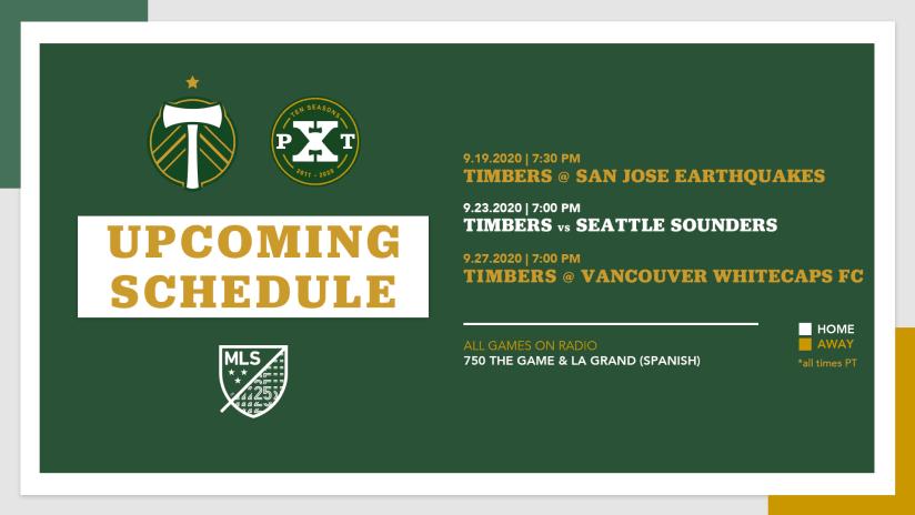 Phase 2 Schedule, three games, 9.11.20