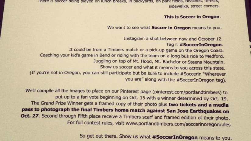 Show us #SoccerInOregon on Instagram, win photo pass to last game of the season -