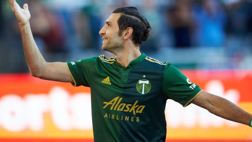 Diego Valeri celebrates his 100th Portland Timbers goal at Providence Park (July 21, 2021)