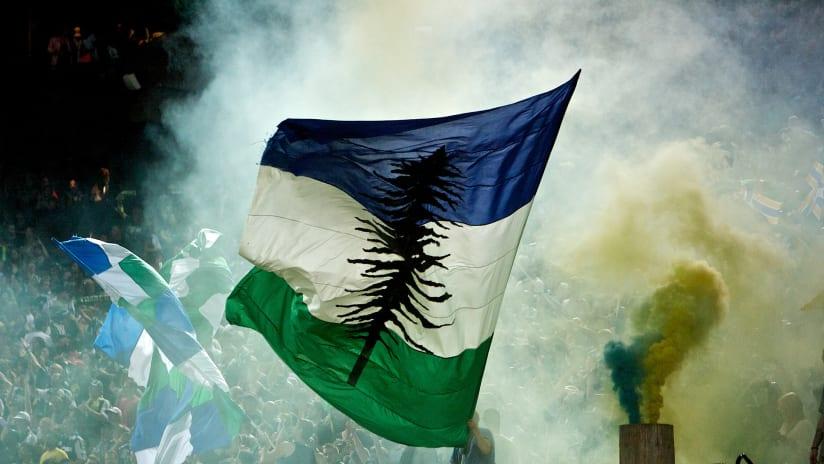 Cascadia Flag, Timbers vs. Caps, 3.8.13
