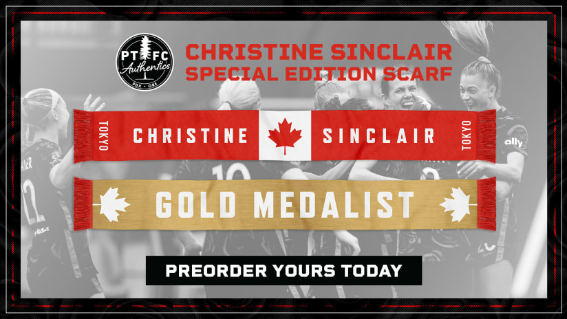 Celebrate Christine Sinclair's gold medal; Preorder this special edition scarf!