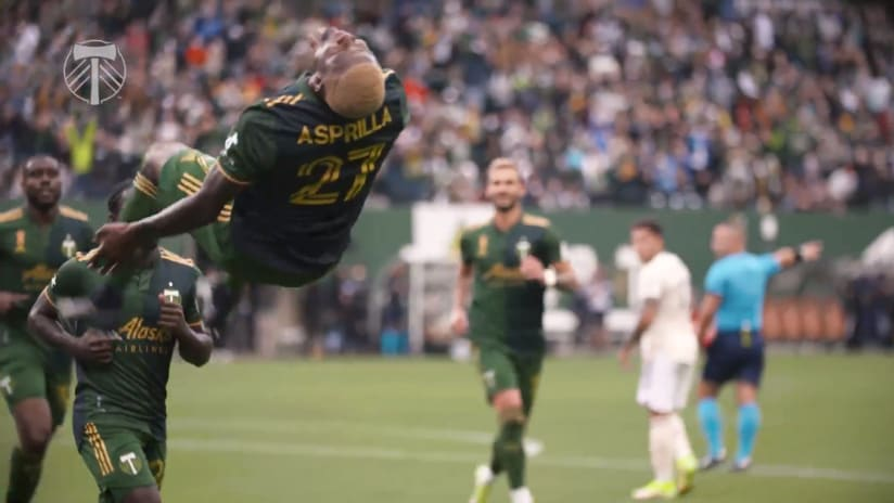 SLOMO   Dairon Asprilla opens the scoring against LAFC complete with backflip