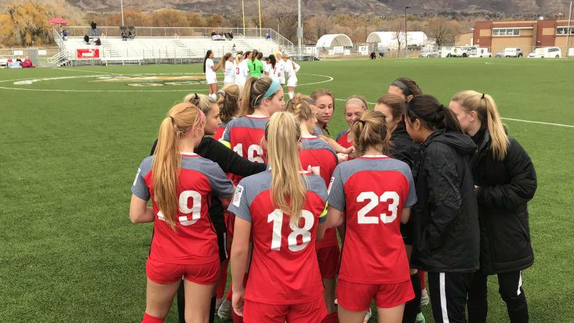 Thorns Academy U-19s, team huddle, 11.04.17